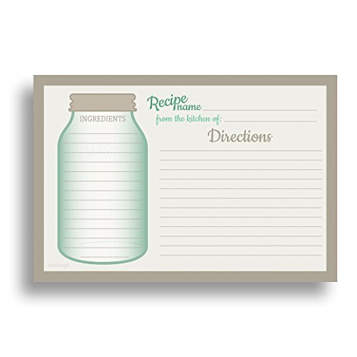 Mason Jar Recipe Card Set from Dashleigh, 48 Cards, 4x6 inches, Water-Resistant and (Recipe Cards 100 compare prices)