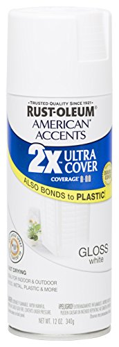 Rust Oleum 280718 American Accents Ultra Cover 2X Spray Paint, Gloss White, 12-Ounce