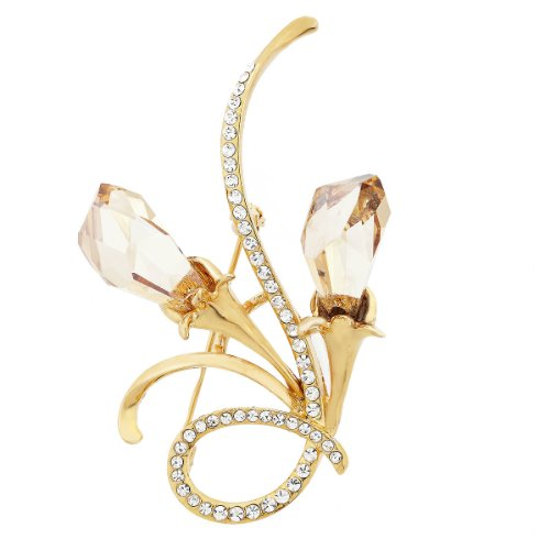 Neoglory Charm Crystal Brooches with Swarovski Element Rhinestone Flower Jewelry 14k Gold Plated Accessory for Women