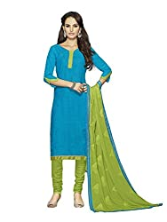 Touch Trends Blue Embroidered Dress Material