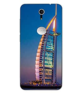 Case Cover Burj Khalifa Printed Sky Blue Soft Back Cover For Swipe Elite Plus