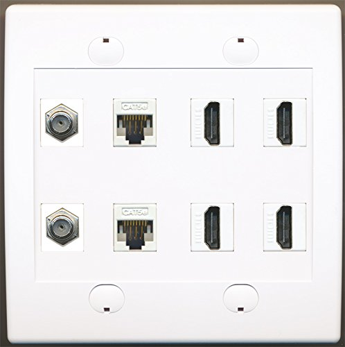 Riteav 2 Port Coax Cable Tv F-Type 2 Cat5E Ethernet And 4 Hdmi Wall Plate