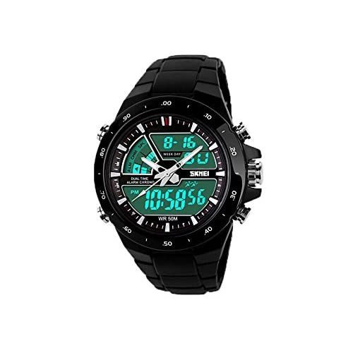 SKMEI 5ATM Fashion Waterproof Men LCD Digital Stopwatch Chronograph Date Alarm Casual Sports Wrist Watch 2 Time...