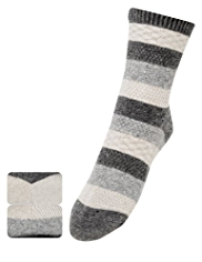 2 Pairs of Thermal Textured & Striped Ankle High Socks with Wool