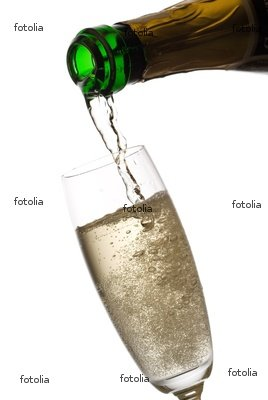 "Wallmonkeys Peel and Stick Wall Graphic - Pouring Champagne, Many Bubbles.. Isolated on White. - 72""H x 48""W"