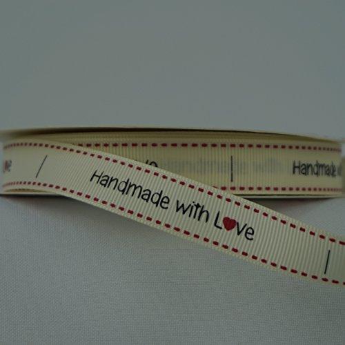 """16 mm-Nastro in gros grain con scritta """"Love"""", vari disegni, quantità: 2 m Cream - Handmade"""