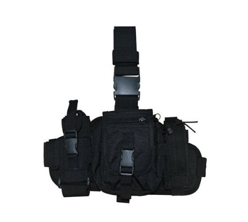 Ultimate Arms Gear Tactical Stealth Black Military Utility Gear Multi Purpose Drop Leg MOLLE Pouch Platform Rig With Included Three Detachable Pouches