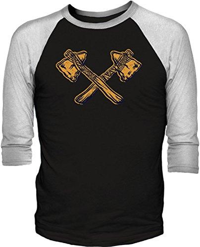 Big Texas Crossed Tomahawks 3/4-Sleeve Baseball T-Shirt, Black / White, Xl