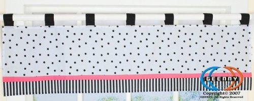 Geenny Window Valance For Boutique Black White Flower & Dot 13 Pcs Crib Bedding Set