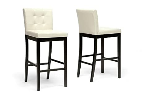 Prospect Cream Modern Bar Stool with Chanasya Polish Cloth Bundle (Set of Two)