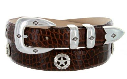Presidential Silver Star Western Golf Concho Italian Calfskin Leather Dress Belt (40 Alligator Brown)