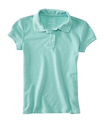 P.S. From Aeropostale Girls Solid Pique Polo Shirt Tropical Mint Neon