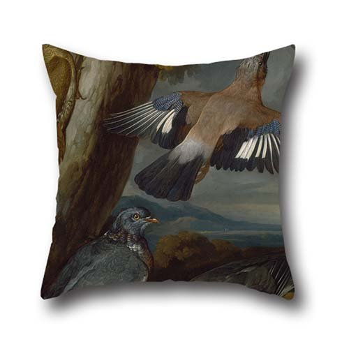 Oil Painting Francis Barlow - Jay, Green Woodpecker, Pigeons, And Redstart Cushion Covers 18 X 18 Inch / 45 By 45 Cm Best Choice For Gf,bedroom,valentine,husband,adults,play Room With 2 Sides