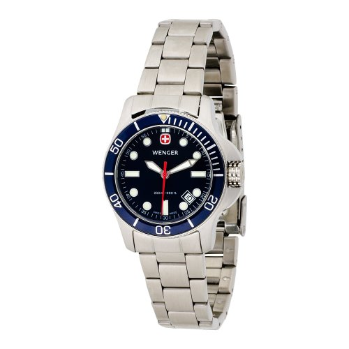 Wenger Women's 72338 Battalion II Diver Blue Dial Steel Bracelet Watch