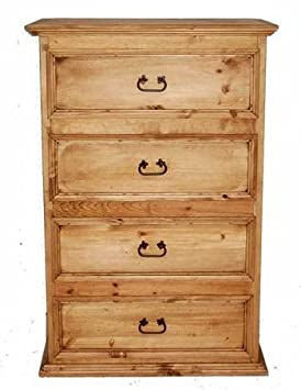Rustic Western 4 Drawer Promotional Chest Of Drawers, Real Wood Dresser