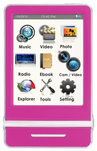 Ematic 8 GB Video MP3 Player with 3-Inch Touchscreen, Built-in 5MP Digital Video Camera, FM Radio, and Speaker (Pink)