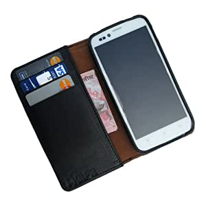 i-KitPit - Genuine Leather Wallet Flip Case Cover For Micromax Bolt A34 (BLACK)