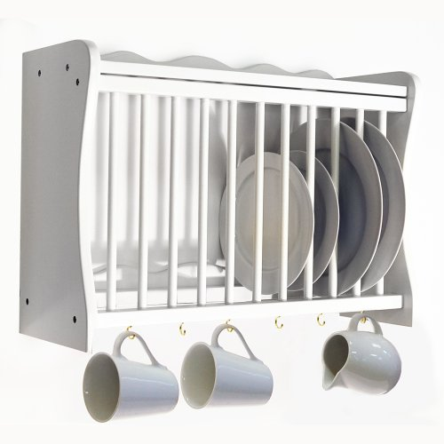 This wall mounted white plate rack is manufactured from MDF with a painted finish. There is a shelf on top space for 12 dinner plates in the middle and 6 ... : dinner plate storage rack - pezcame.com