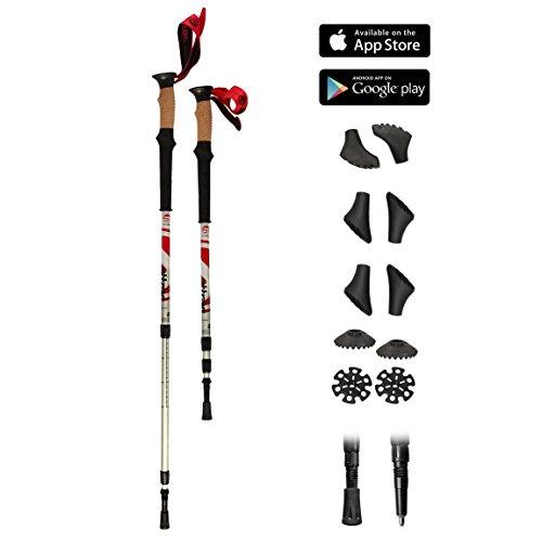 Bastoncini Trekking Climber con sistema telescopico, anti-shock e ammortizzante - Lunghezza regolabile da 67 cm fino a 136 cm - 8 tacchetti di ricambio + 2 piastre incluse nella confezione