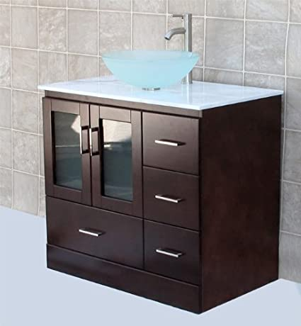 "solid wood 36"" Bathroom Vanity Cabinet white Tech Stone (Quartz) Vessel Sink Faucet MGS"