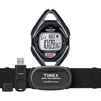 Image of Timex® Ironman® Race Trainer Kit(USB) Heart Rate Monitor Womens Black Silver/Pink (B008G4MDA2)