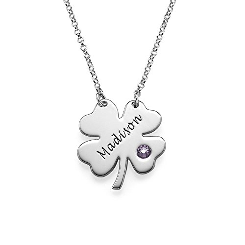 Engraved Four Leaf Clover Necklace -Custom Made With Any Name! (18 Inches, February-Amethyst)