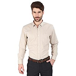 Big Tree High Quality Fabric Cotton Stripe Shirt (Size Large) (Color-Gold)