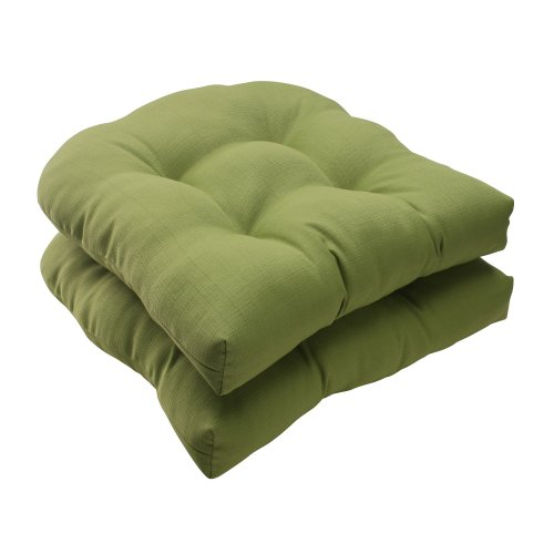 Pillow Perfect Indoor/Outdoor Forsyth Wicker Seat Cushion, Green, Set of 2 photo