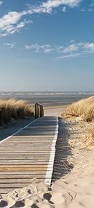 Selbstklebende Türtapete Auf dem Holzweg zum Strand  93 x 205 cm in PremiumQualität Abwischbar, brillante Farben, rückstandsfrei zu entfernen   Kundenbewertung und Beschreibung