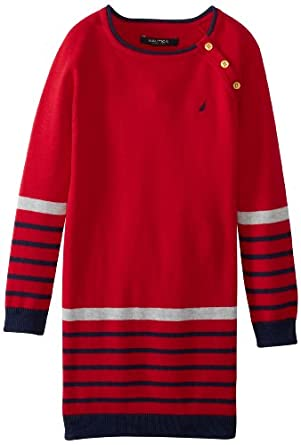 Nautica Little Girls' Long Sleeve Sweater Dress, Red, 4T