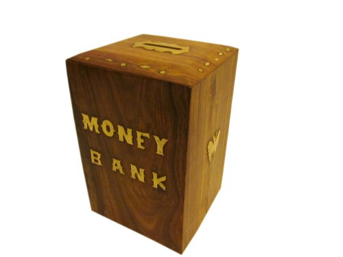 JBJ Wooden Money Bank with Lock and Brass Work - 1