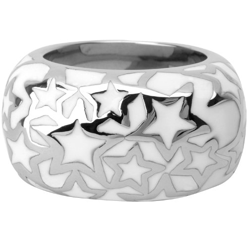 Size 6 - Inox Jewelry 316L Stainless Steel White Resin Star Pattern Ring
