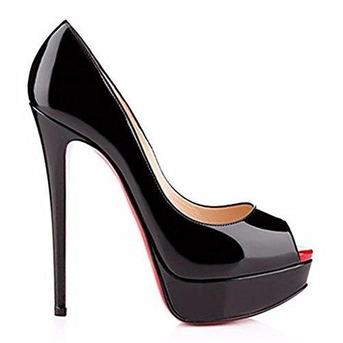Europeo in vernice peep impermeabile rosso Ladies Night Club Party Dress High Heels , black , 38