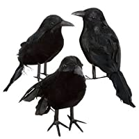Lot of 9 Halloween Black Feathered Crows Ravens Props Decor Decorations Birds from Greenbriar