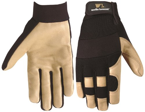 Wells Lamont 3214L Work Gloves with Grain Pigskin, Spandex Back, Hook and Loop Wrist Closure, Large