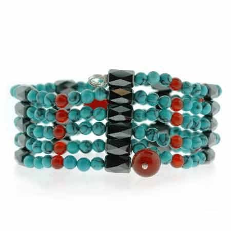 Genuine Hematite Carnleian, and Reconstituted Turquoise Bead Magentic Healing Anklet/ Bracelet/ Necklace