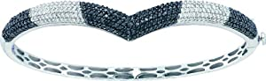 14k White Gold 1.72 Dwt Diamond Fashion Bangle Bracelet - JewelryWeb