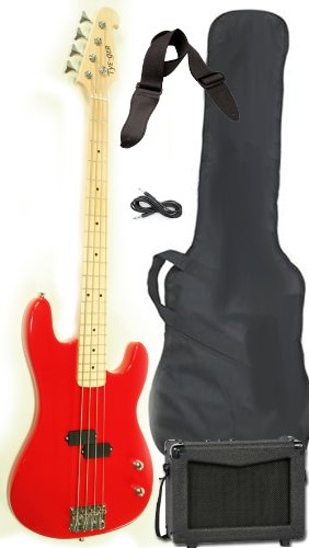 Full-Size Electric Bass Guitar Starter Beginner Pack with Amp Case Strap Red Package