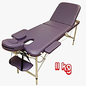 Table de Massage - Alu - seulement 11kg, pliante Confort, beaucoup d'accessoires, 3z, LILAS