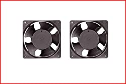 EC Axial Cooling Blower Exhaust Rotary Fan - PACK OF TWO (2) - SIZE OF ONE FAN - 4.75 inches (12x12x3.8cm), Material - Thermoplastic, Color - Black. MAA KU