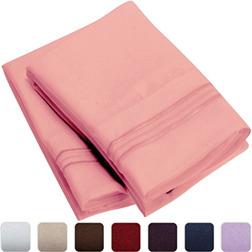 Mellanni-Luxury-Pillowcase-Set-HIGHEST-QUALITY-Brushed-Microfiber-1800-Bedding-Wrinkle-Fade-Stain-Resistant-Hypoallergenic-Set-of-2-Standard-Size-Pink