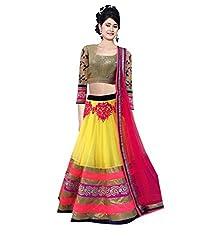Fashion Gallery Yellow Georgette Net Designer Lehenga