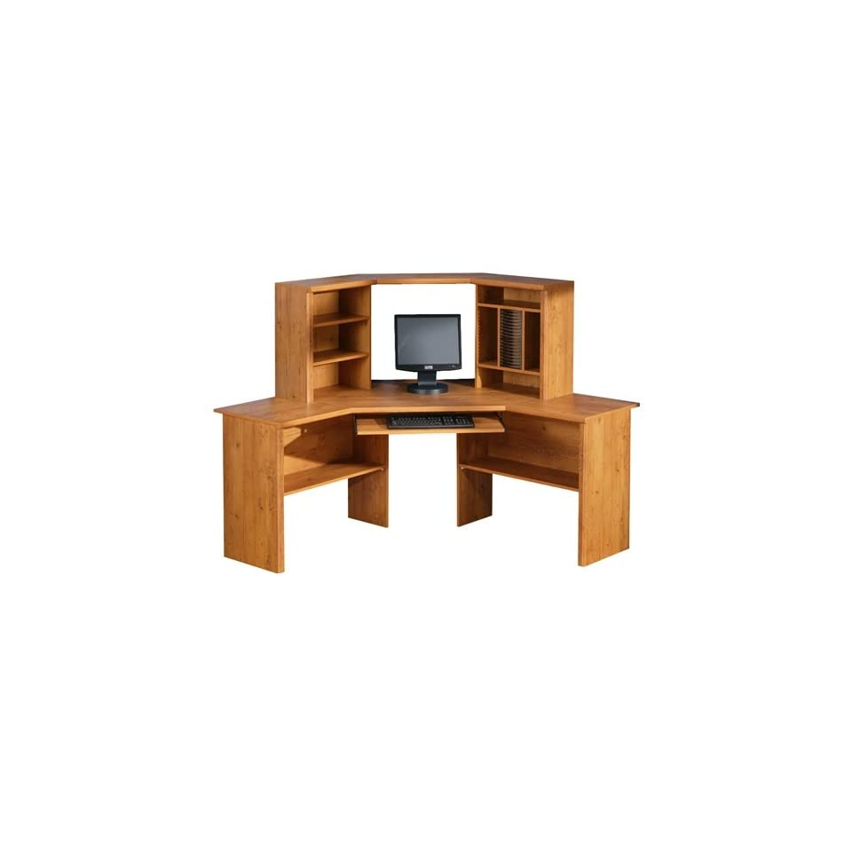 Country pine corner computer desk with hutch office - Pine corner desks ...