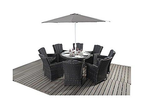 Manhattan Schwarz Rattan Garten Möbel 8Sitzer rund Esstisch Stühle, Set günstig kaufen