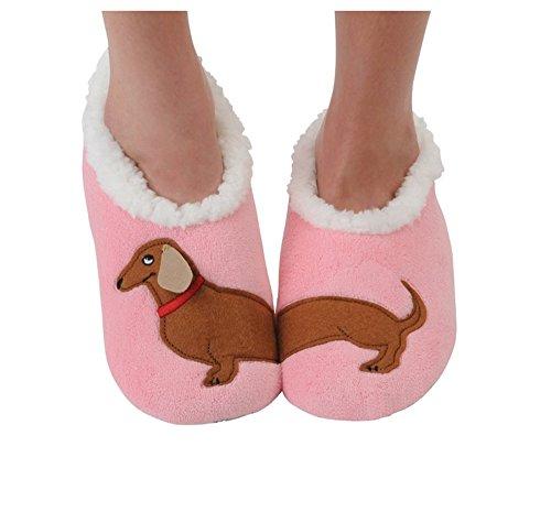 Snoozies Womens Classic Splitz Applique Slipper Socks - Dachshund, Medium