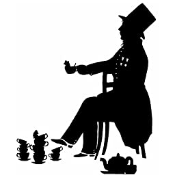 The Mad Hatter Alice In Wonderland Original Hand cut Silhouette Papercut Black and White Lewis Carroll Tea Party Mouse