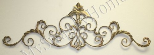 Gold Scroll Fleur De Lis Iron Wall Topper - Indoor Or Outdoor front-928084