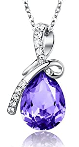 Eternal Love Teardrop Swarovski Elements Crystal Pendant Necklace - Violet Purple Large 17.5