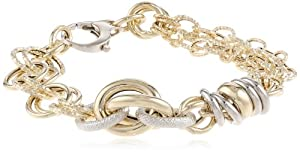 """14k Italian Two-Tone Yellow and White Gold High Polished and Textured Circle Link Fancy Bracelet, 7.5"""""""