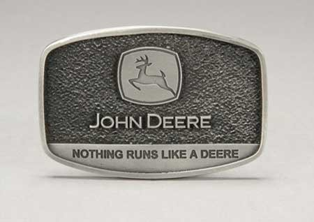 "John Deere Pewter Logo ""Nothing Runs Like a Deere"" Belt Buckle"